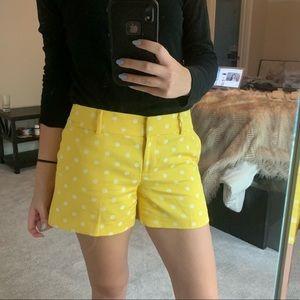 Ann Taylor Yellow and white polka dot shorts